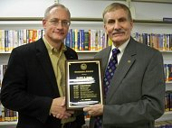 Del. Overington Presents 2009 Winners Award to Barry R. Rude